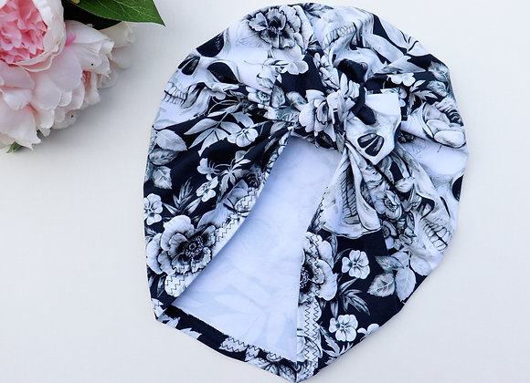 Skull and Roses Turban ( Removable bow)