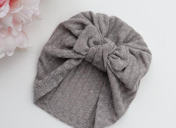 Grey Knit Rib Turban (Removable Bow)