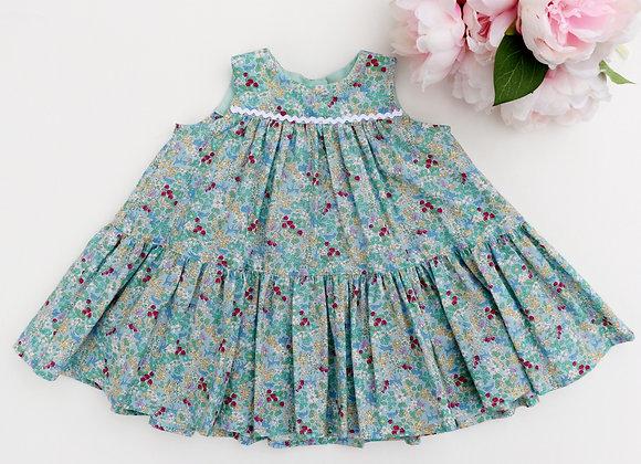 3-6 Green blossom Flared Dress