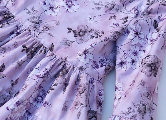 2 Yrs Lilac Flower 3 tier Dress