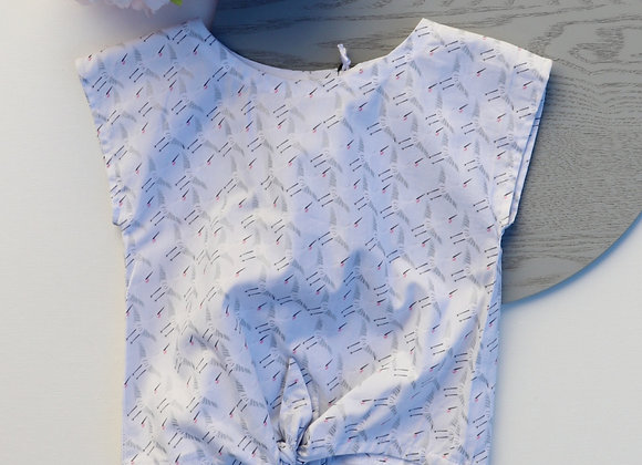2 Yrs White Bird Box Tie Knot Blouse