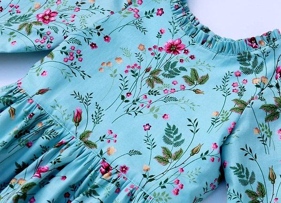 4 Yrs Blue Flower 3 tier Dress