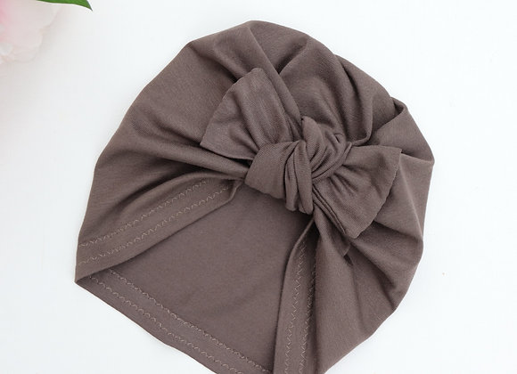 Chocolate Grey Turban (Removable Bow)