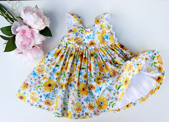 12-18 Month Yellow Flower Double Flutter Sleeves Dress