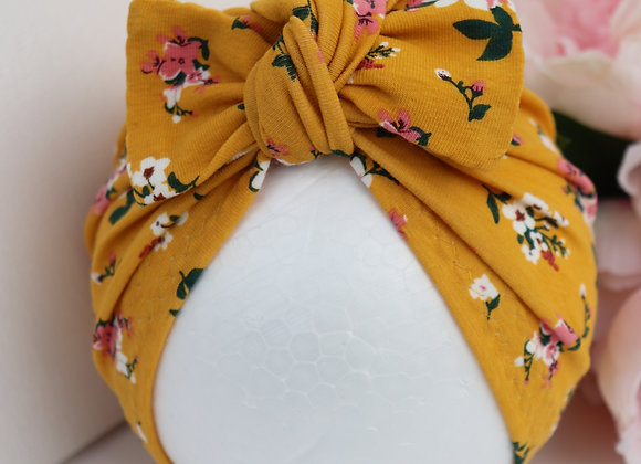 Mustard Spring Flowers Turban ( Removable bow)