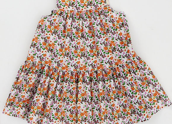 2 Yrs Orange Flowers Flared Dress