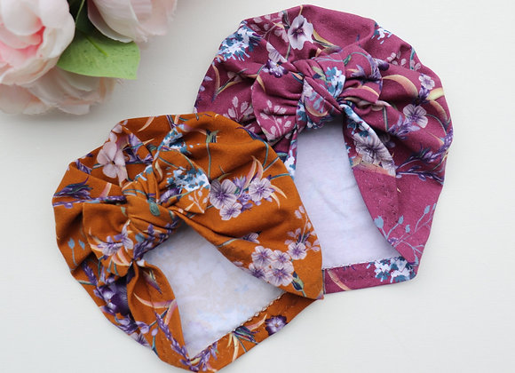 Pretty Flowers Purple or Mustard Turban ( Removable bow)