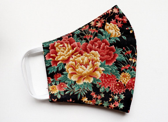 Adult Red/Golden/Black Flowers Reusable Mask/Face Covering
