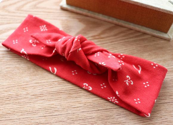 Red Cherry & Wishbone (Organic Cotton) Head Ties