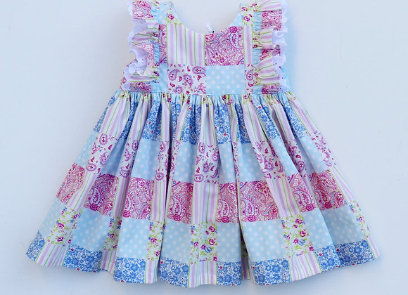 3-6 Month Colourful Squares Double Flutter Sleeves Dress