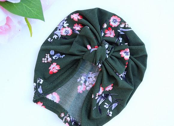 Green & Peach Flowers Turbans