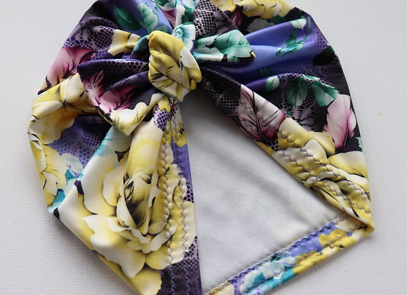 Purple/Yellow Rose Turbans ( Removable Bow)