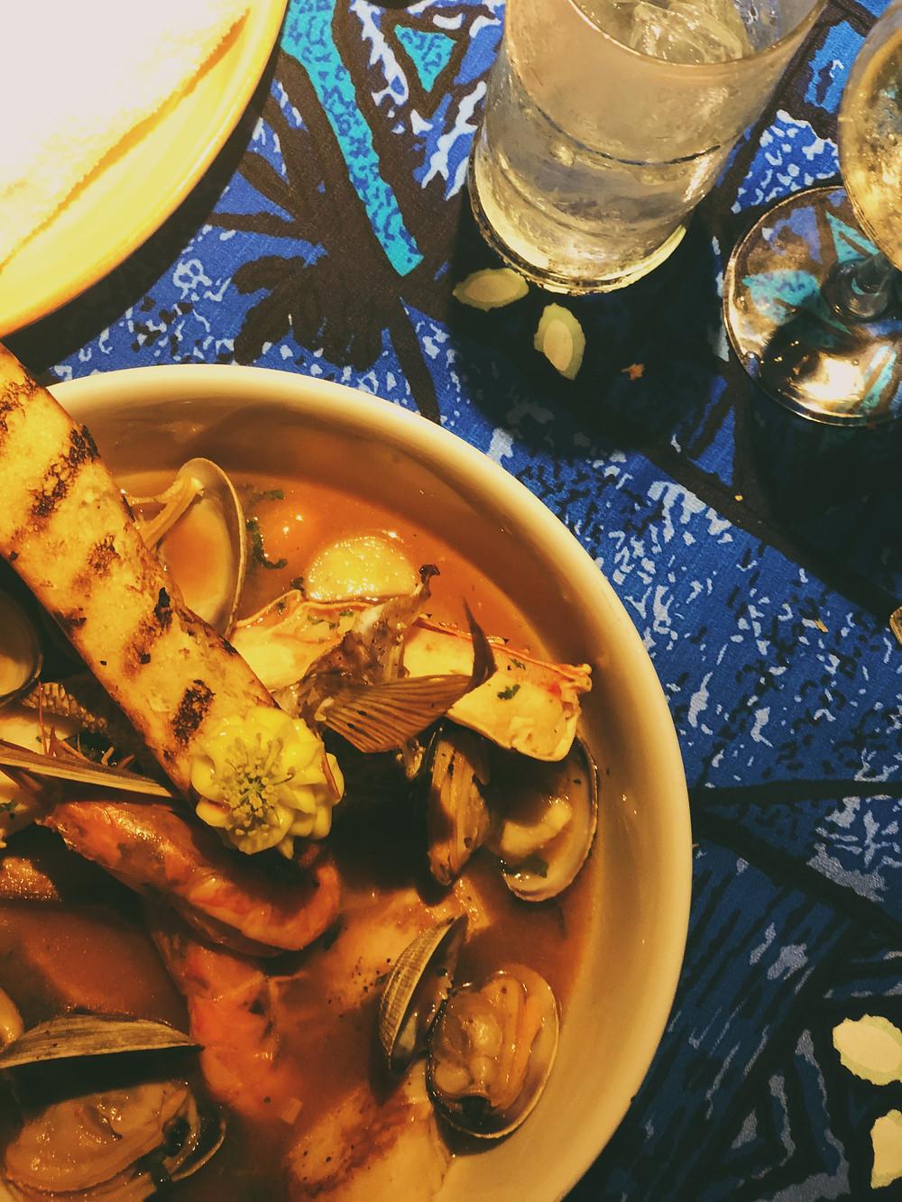 Bouillabaisse: Mahi mahi, ahi, king crab, clams & scallops