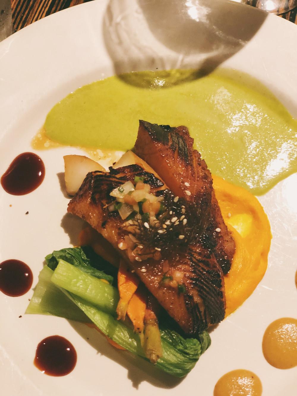 Miso Butterfish, carrot puree & wasabi sauce