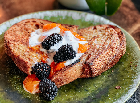 Seasonal Breakfast: Sesame French Toast with Stewed Apricots
