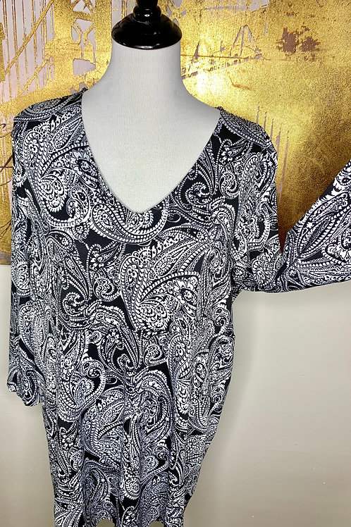 Paisley Printed Tunic (black&white)