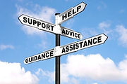Signpost showing support, help, advice, guidance and assistance