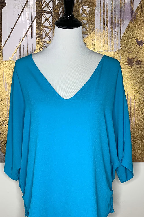 Ocean Blue Blouse with fitted waist detail
