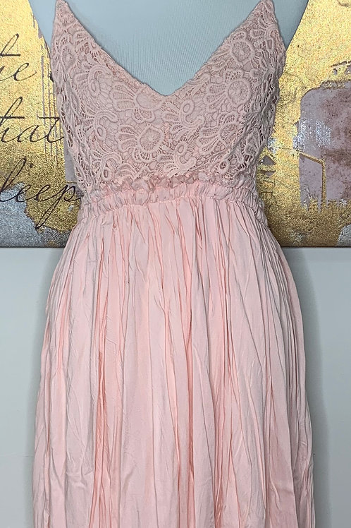 Fairytale Pink Backless Lace Maxi Dress