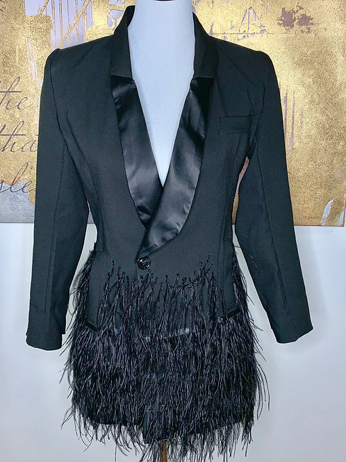 Tailored black blazer with feathered detail