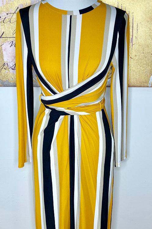 Striped knee length wrap dress