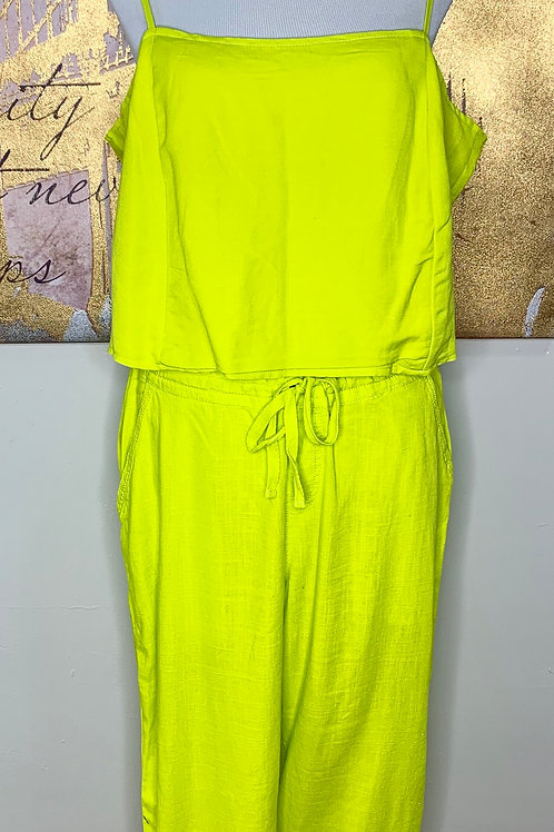 Lime Green 2 Piece linen pants set with Crop Top