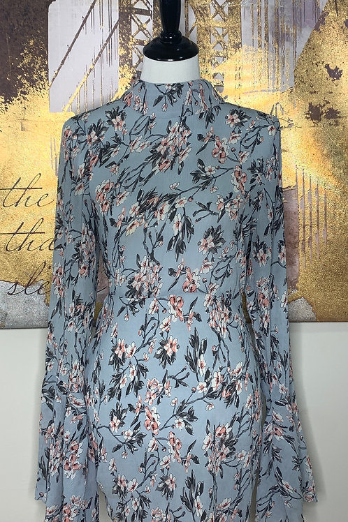 Floral Bell Sleeve Mini Dress w/ Tied Open Back Detail
