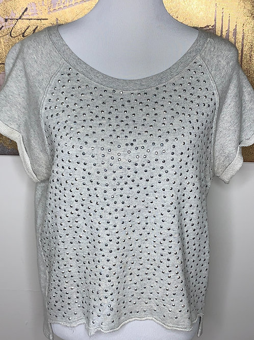 Rhinestone oversized short sleeve sweat shirt