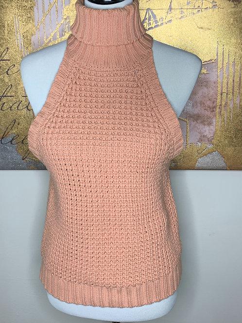 Blush sleeveless mock neck sweater