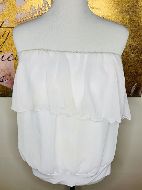 Pearl Strapless Frilled Top