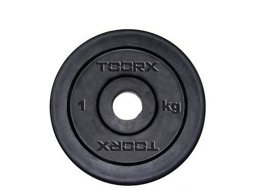 Disco in ghisa gommato foro 2,5 cm da 0.50 a 20 kg