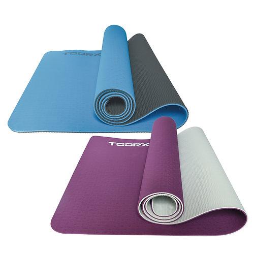 Materassino per Yoga BICOLORE Professionale con superficie antiscivolo Toorx