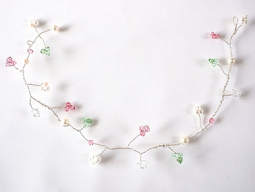 Silver Hair Vine with Pink and Green Crystals and Pearls