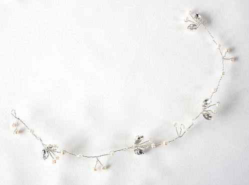 Silver Hair Vine with Navette Diamanté and Pearls