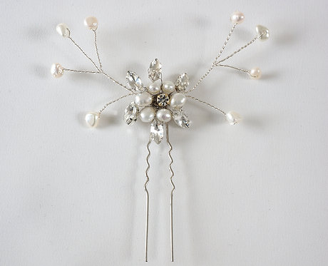 Freshwater pearl flower and diamante hair pin