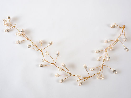 Rose Gold Hair Vine with Diamanté and Palest Pink Pearls
