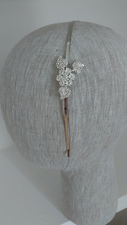 Silver Metal Headband with diamante flower and leaf motif