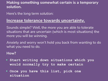 1 proven way to deal with uncertainty