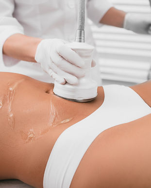 Beautiful woman having cavitation, proce