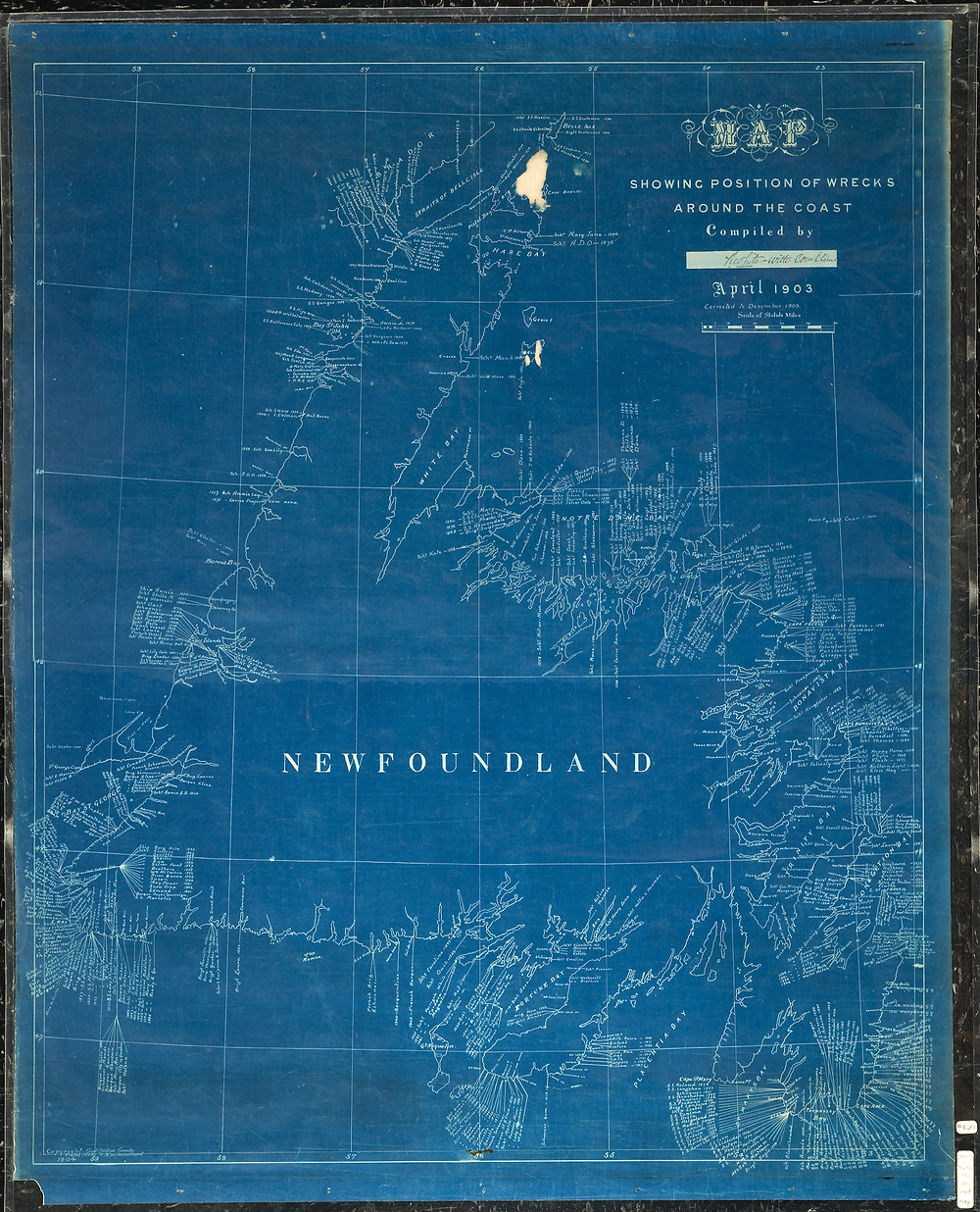 A map of Newfoundland showing the position of shipwrecks along the coast
