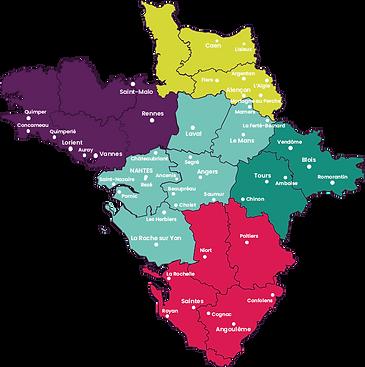 Carte du territoire Retravailler dans l'Ouest