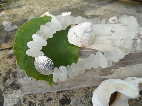 Impressive chunky soft white sea glass necklace