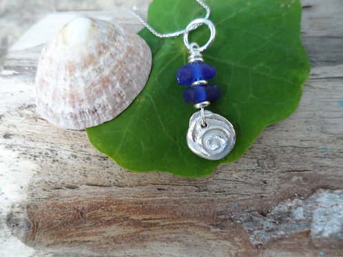 Stunning deep blue sea glass pendant