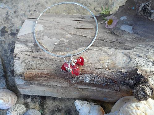 Gorgeous rare red sea glass bangle