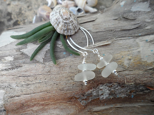 Pretty soft white sea glass shorter drop earrings