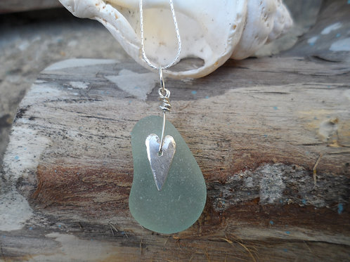 Lovely delicate soft blue sea glass pendant