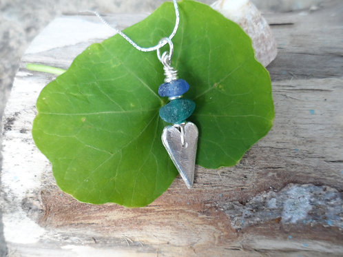 Solid silver heart and rare blues sea glass pendant