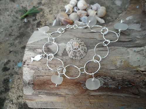 Delicate soft white sea glass bracelet
