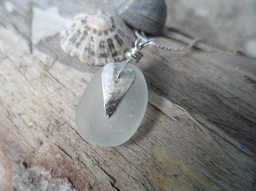 Delicate smaller soft white sea glass pendant