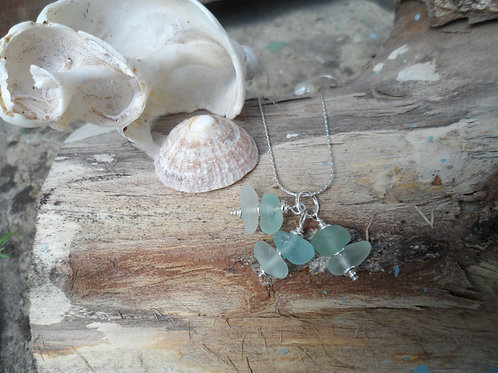 Pretty soft blue sea glass pendant